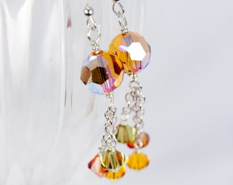 Swarovski Crystal Topaz earrings, Sterling Silver earrings, Swarovski earrings, Orange and Green Earrings, Handmade Earrings