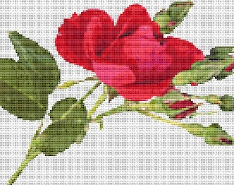 Red Rose Counted Cross Stitch Chart