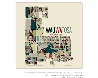 Wauwatosa (Tosa), Wisconsin Art Map Print (Milwaukee County) by James Steeno