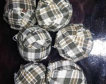 Primitive rag balls counry rag balls green plaid colors