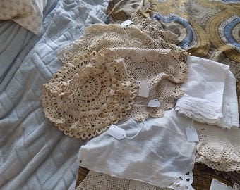 Antique Linen dollies from charity group