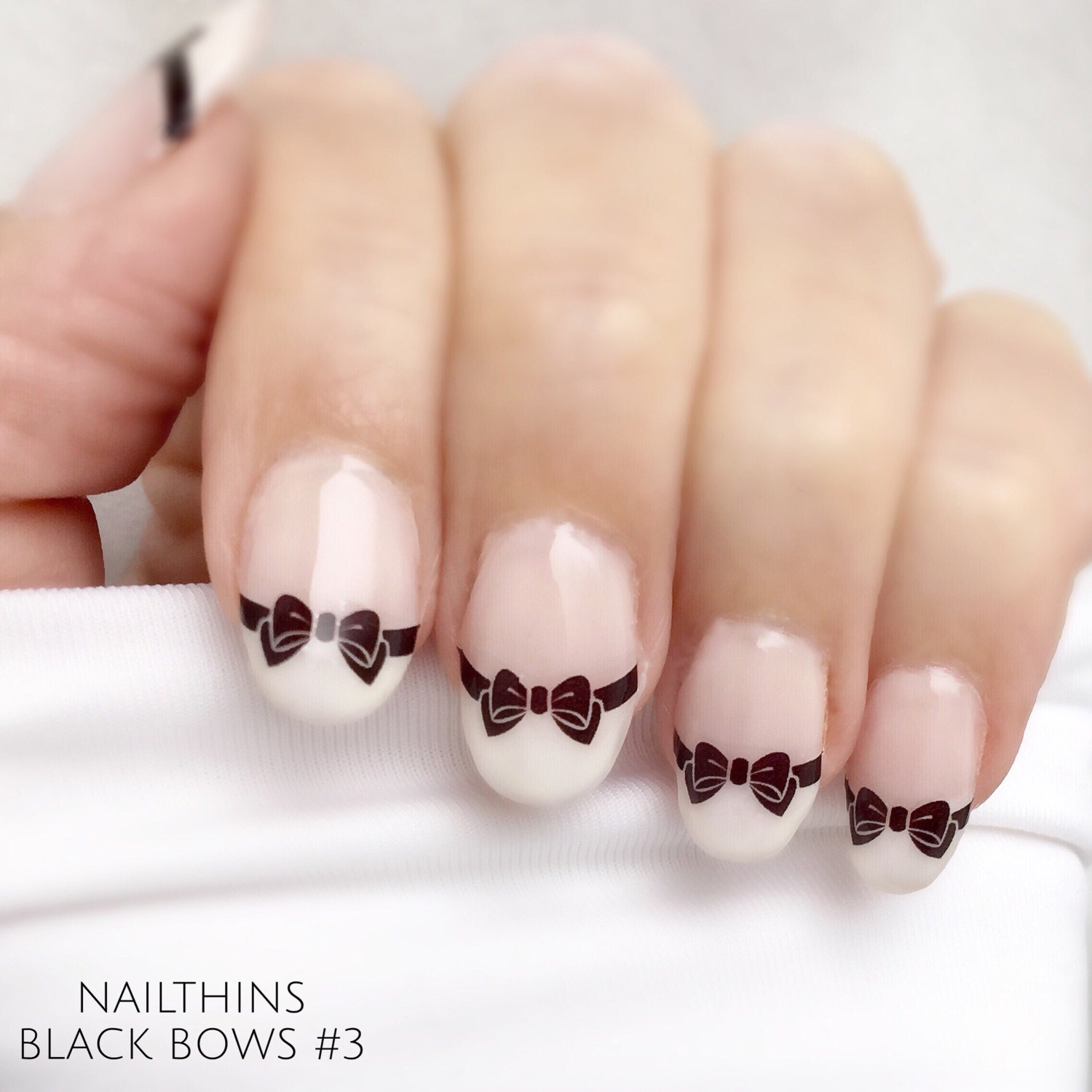Black Bows Nail Decals Style 3 bow Nail Art