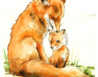 Mommy and baby fox - large print