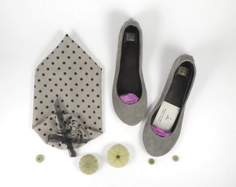 Leather Ballet Flats. Bridal Shoes. Women Shoes. Low Heel Wedding Shoes. Gray Flats. Italian Leather Shoe. Bridal Gift. Bridesmaids Proposal