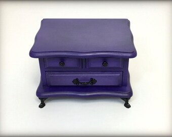 Purple Jewelry Box Hand Painted Trinket Box Solid Wood Aqua Purple Keepsake Gift for Tween Girl Daughter Granddaughter Upcycled Jewelry Box