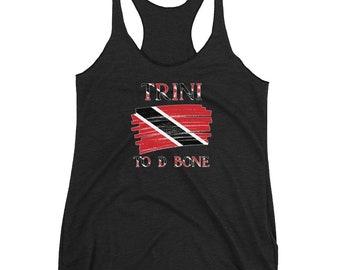 Trinidad Shirt| Trini To D Bone| Trinidad and Tobago Flag| Trinbago Women's Racerback Tank