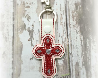 Cross Snap Tab Embroidery Design