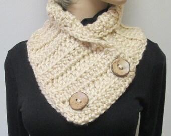 Tan Crochet Button Wrap, Fall Scarves, Chunky Knit Cowl, Warm Winter Scarf, Chunky Scarves, Button Wrap Scarf, Fashion Scarf, Fabiana B2-019