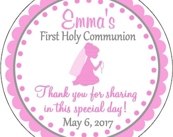 First Communion Pink with Girl Kneeling holding Rosary First Holy Communion Dedication Thank You Labels Stickers Party Favors Gift tags