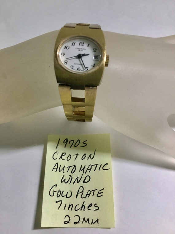 1970s Ladys Croton Automatic Wind Date Gold Plated Wristwatch 22mm 7 inches
