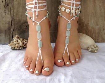 Beach wedding barefoot sandals blue soleless sandals bridal footless sandals hippie minimalist