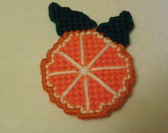 Plastic Canvas Orange Pin/Brooch  #120