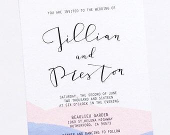 Watercolor Dipped Wedding Invitation, Invite Suite | Pantone Color of the year 2016 ROSE QUARTZ & SERENITY