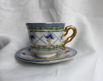 Small Tea Cup & Saucer Blue Flowers Gold Detail Attached