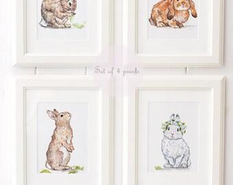 Bunny Art Print Set - Bunny Nursery Prints - Giclee - Bunny Nursery Decor - Bunny Nursery Art - Nursery Art Print Set