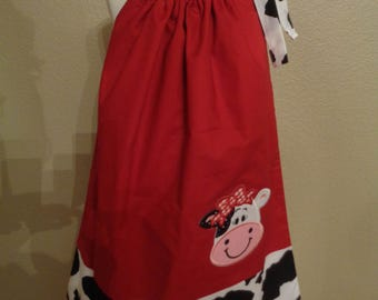 Cow- Farm Pillowcase Boutique Dress