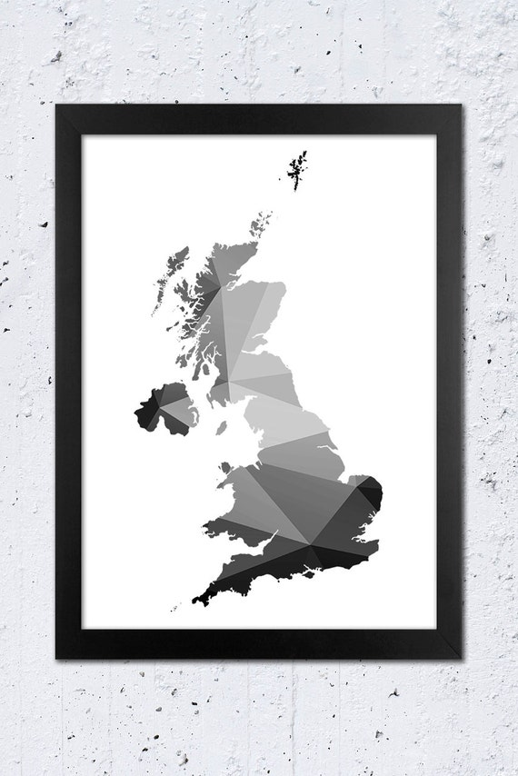 Uk map print uk geometric silhouette map print england black