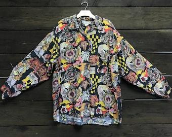 Vintage 80s Silk Button-Up Shirt