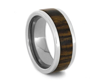Interchangeable Titanium Ring, Bocote Wood Ring, Mens Wooden Wedding Band