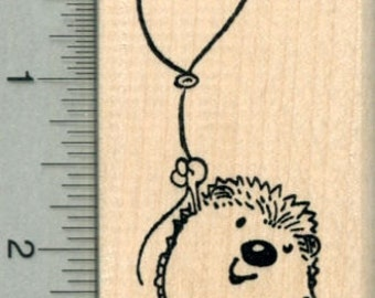Hedgehog with Balloon Rubber Stamp, Party Series J29606 Wood Mounted