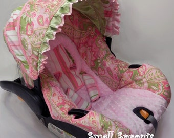 Pink and Green Paisley/Stripe with light Pink Minky Infant Car Seat Cover 5 Piece set