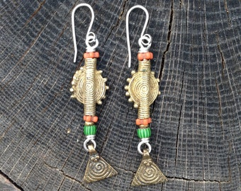 Brass and Trade Bead handmade wire wrapped earrings
