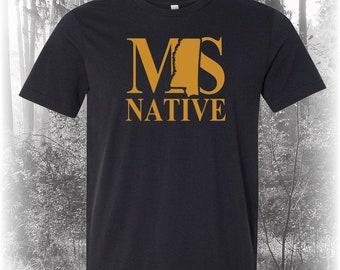 Black Mississippi Native Shirt, Native Mississippi Shirt, Mississippi Shirt, MS Shirt, Mississippi State Shirt
