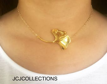 Ginkgo Leaf Necklace / Statement Necklace