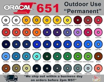 "Oracal 651, 12""x12"" Permanent Outdoor Vinyl / Outdoor Vinyl / Permanent Adhesive Vinyl / Silhouette Vinyl / Cricut Vinyl / Permanent Vinyl"