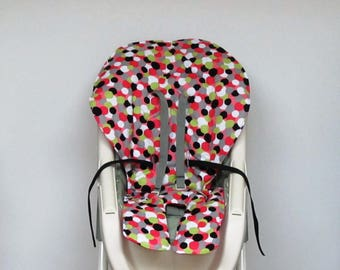 Graco baby accessory high chair cover, replacement baby chair pad, highchair cushion, feeding chair pad, kids nursery chair, dots on pink