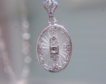 1910 Camphor Glass Filigree Necklace in Sterling Silver