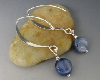 Denim Blue Kyanite Coins Long Sterling Silver Earrings