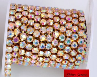 10yards/roll Gold Base Clear AB Crystal SS6 SS8 SS10 SS12 SS16 SS18 Sew On Rhinestone Chain