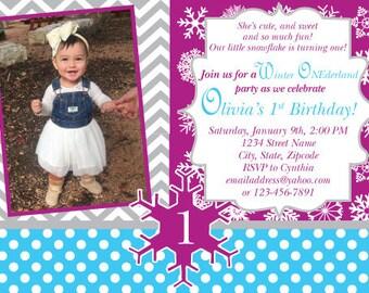 Winter ONEderland 1st Birthday Invitation, Winter Wonderland Theme