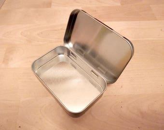 Set of 2 Hinged Metal Silver Tin- Multi-use