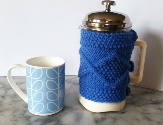 Cafetiere Cosy: Aran knit coffee pot cosy. Made in Ireland. French Press cozy 8 cup coffee jug warmer. Housewarming gift. Coffee pot cover.