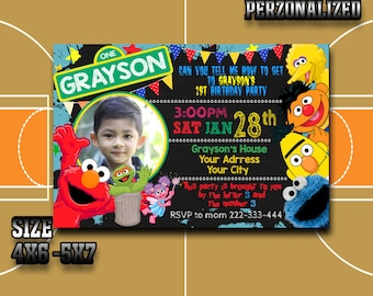 Sesame street  Sesame street Invitation Sesame street Birthday Sesame street Party Sesame street Birthday Invitation Sesame street Invited