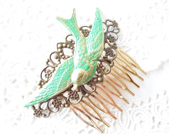 Green Sparrow Hair Comb - Flying Swallow Hair Comb - Large Bird Hair Comb - Woodland Hair Comb - Bridal Sparrow Hair Comb - Ox Filigree Comb
