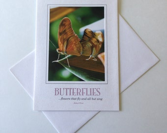 Butterfly Pair Photo Note Card Blank Inside Inspirational Quote