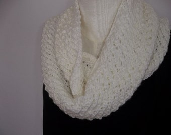 Creamy Scarf, Hand Knit Infinity Scarf, Circle Scarf , Knitted Circle Scarf, Lacy Knit Infinity Scarf.Winter White Cowl Scarf,
