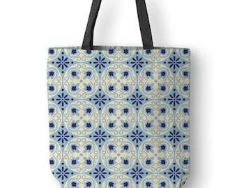 Spanish tile tote bag, Barcelona tiles canvas tote bag, Bohemian decor canvas bag, Adjustable strap, Tote bag books, Shoulder bag. SP036