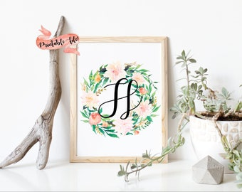 Floral Letter Download File for Printing, Watercolor Flowers, Nursery Decor, Little Girl Bedroom, Wall Decor