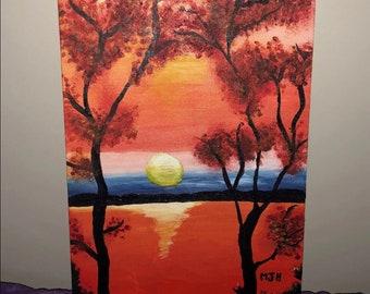 Hand Painted Sunset Art