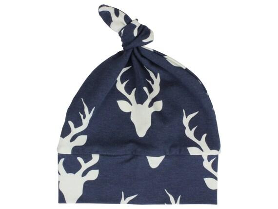 Navy Blue Deer Top Knot Hat Boy Baby Beanie Hat Unisex Buck Deer Stag Baby Newborn Beanie Toddler Slouch Beanie Baby Gift Infant