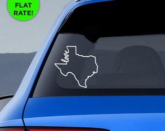 "Texas State ""Home"" Decal - TX Home Car Vinyl Sticker - Add a heart over Houston, San Antonio, Dallas, Austin, Fort Worth, El Paso, Waco"