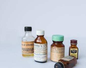 Vintage Medicine Bottles, Set of 5 Apothecary Bottles, Oil of Citronella, Alophen, Morphine