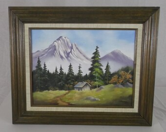 Vintage Oil Painting On Canvas Signed Artist T. Machem  Mountain Cabin in Forest Meadow Scene
