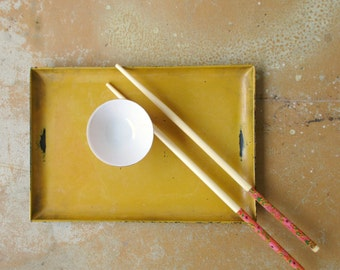 Vintage Sushi Set, Gold Mustard and Black Lacquerware Tray and Orange Porcelain Wasabi Cup