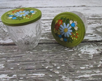 Two (2) Ball Quilted Jelly Jars Retro Flower Top