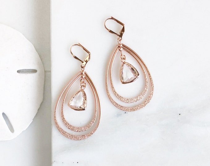 Rose Gold Statement Earrings. Long Double Teardrop Rose Gold Earrings with Champagne Stones. Rose Gold Earrings. Rose Gold Jewelry. Gift.